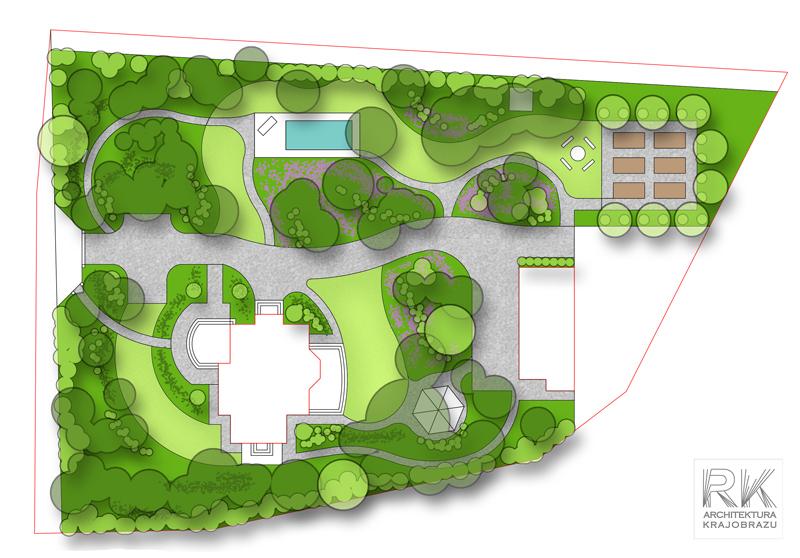 Projekt ogrodu w sosnowym lesie